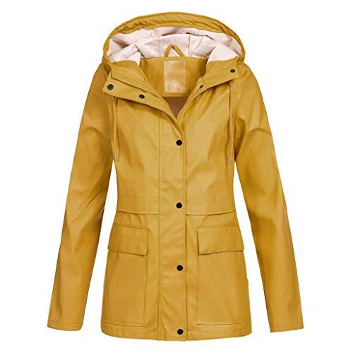 Fenverk Damen Frühling Herbst Mantel bequem Solide Regenjacke Outdoor Jacken mit Kapuze Regenmantel Winddicht Parka Coat S-XL(B Gelb,5XL)