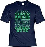 Angler T-Shirt Lustiger Angel Zubehör für Den Hobby Angler - Ich Bin Ein Super Angler - Papa Geschenk Geburtstagsgeschenk Geschenkidee Weihnachten Freizeit Gr: 4XL