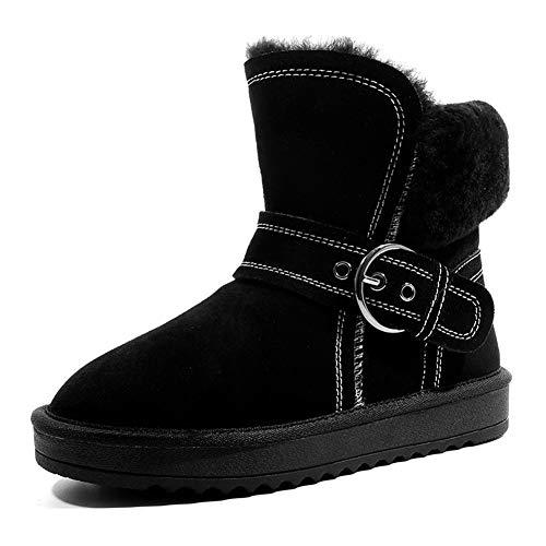 EleBoot Frauen Stiefel Winter Schnee Warme Knöchelriemen Runde Kappe Plattform Knie High Fashion Voll Pelz Gefüttert, Black, 34