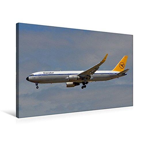 Premium Textil-Leinwand 75 cm x 50 cm quer, Condor - Boeing 767 | Wandbild, Bild auf Keilrahmen, Fertigbild auf echter Leinwand, Leinwanddruck (CALVENDO Mobilitaet)