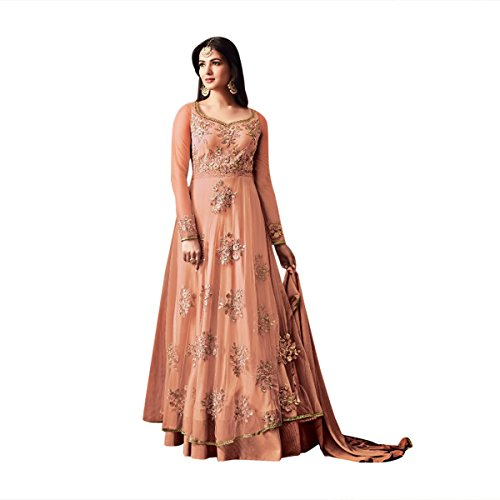 New year Christmas Offer Ready to wear Europe size 32 to 44 Ceremony Women Hijab Party Wear Anarkali Straight Salwar Suit gown party wear Designer Kleid Partei tragen indische Hochzeit Braut 668 (Peach) (Peach Georgette)