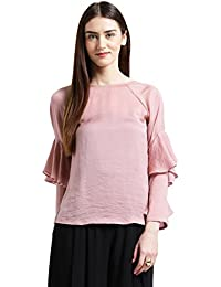 Zink London Pink Solid Ruffle Bell Sleeve Regular Top for Women