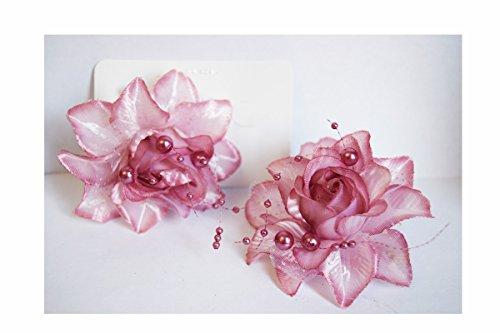 2Stück Zange Haar Blume (Rosa) Parma Dekoration Finish Perlen & Spitze