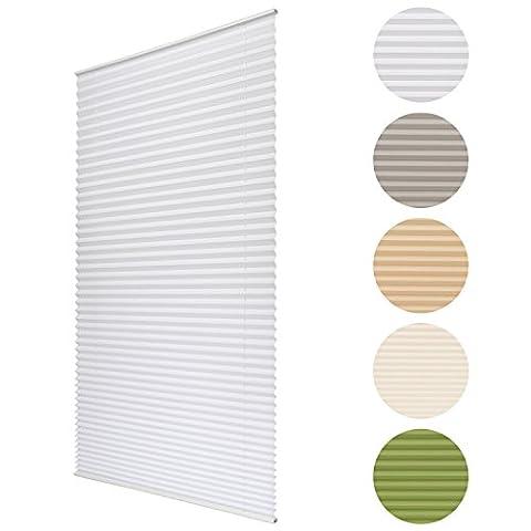 Sol Royal Plissee SolDecor P25 - 50x120 cm Weiß - Klemm-Fix ohne Bohren - Plissee-Rollo Jalousie für Fenster &