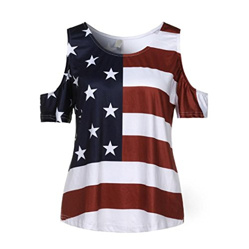 Happy Event_women tops Frauen Casual Distressed American Flag Off-Schulter Kurzarm T-Shirt Bluse✨✨✨✨ (2XL)