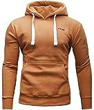 CRONE Basic Herren Fleece-Hoodie Kapuzenpullover aus 100% Baumwolle mit Logo (XXL, Indian)
