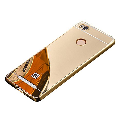 SDO™ Mirror Back Cover Case with Acrylic Bumper Frame for Xiaomi Redmi 3S Prime / Redmi 3S Pro with Fingerprint Cutout (Gold)