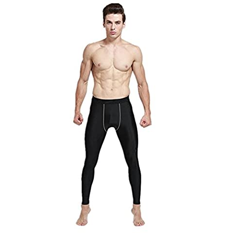 Lanbaosi Collant de Compression Homme Sport Legging Tights Compression Couche de Base de Course Pantalons Noir small Noir xx-large