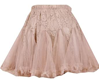 Sexy Girls Women Tulle Tutu Mini Lace layere Skirt underskirt ivory/beige One size UK 6 8 10 (Beige)