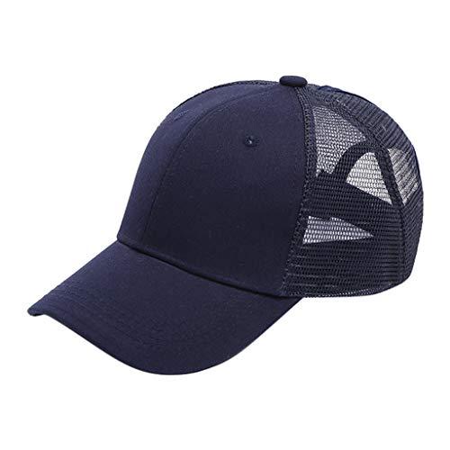 HLIYY Femmes Ponytail Baseball Cap Hat Coton RéGlable Et Mesh Messy Trucker Chapeau Casquette De Queue Cheval pour Femme Camionneur en Ajustabl