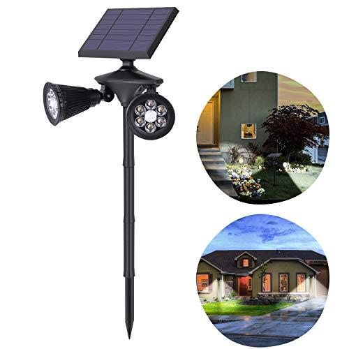 OUSFOT Solarlampen für Außen Solarleuchte Garten mit Bewegungsmelder 4500mAh Verstellbare Duale Solarstrahler Wasserdicht