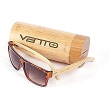 Vento Eyewear® modelo Levante Leopard&Tea - Gafas de sol de madera de bambú, diseñadas en Italia con certificados CE y protección UV400, Marco leopardo lentes marrón