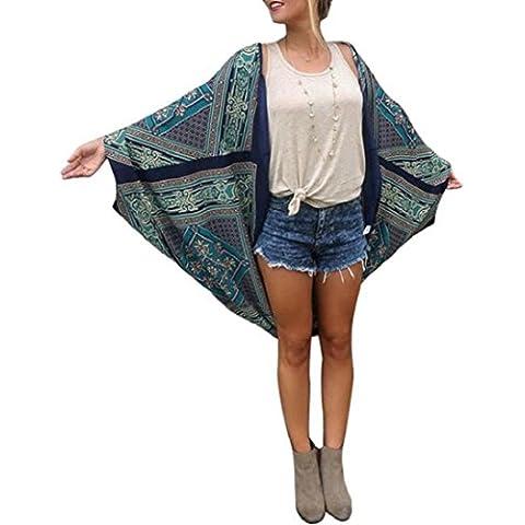 FEITONG Las mujeres de Boho Impreso Floja de la gasa del mantón Kimono Tops Cardigan Cubrir la