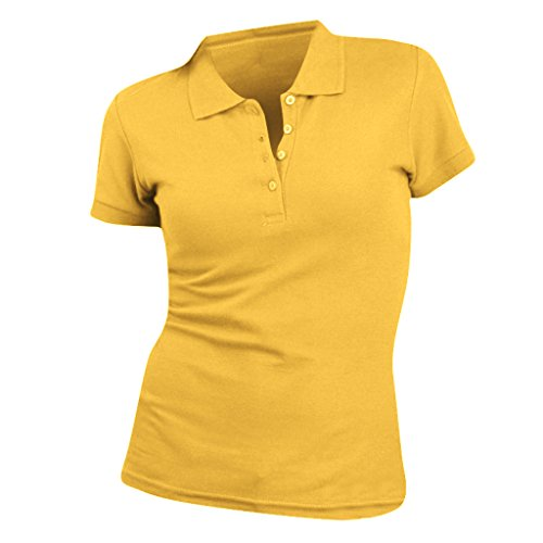 SOLS People Damen Polo-Shirt, Kurzarm (2XL) (Gold) (Kurzarm-nackenband)