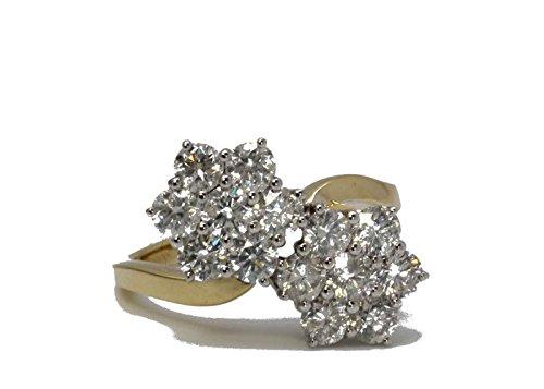Precious Jewels UK - Diamanten Damen Cluster Ring 18 Karat Gelbgold - Zertifiziert Von AGI - Diamanten, 18 Karat Gelbgold, Natürlicher Diamant, 750 Gold, S 1/2 (S2-diamant-ring)