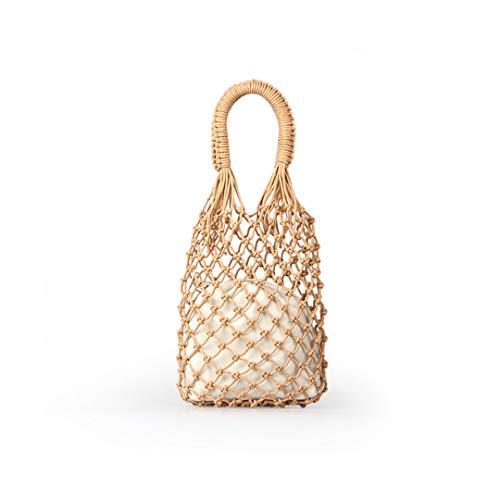 Strandtaschen Baumwolle Aushöhlen Korb Verbundbeutel Freizeit Stroh Tasche Für Mädchen Frauen Handtaschen Mesh Seil Net Taschen Brown no Lining