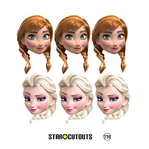 Kostüm Frozen Disney Familie - Star Cutouts SMP403 Offizielle Anna und Elsa Masken, 6 Stück, perfekt für Frozen Fans, Partytüten und Dekorationen, mehrfarbig