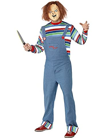 Chucky die Mörderpuppe Halloween Kostüm mit Maske blau bunt L (Chucky Maske Kostüm)