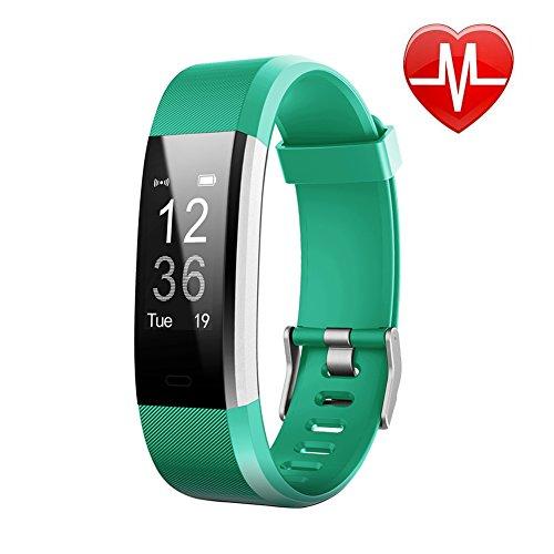 letscom fitness tracker hr, orologio con cardiofrequenzimetro, impermeabile, contapassi, contacalorie, orologio per bambini, donne e uomini, id115plus hr, green, verde