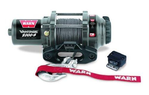 WARN 12V Elektrische Seilwinde 2000-S Vantage | Zugkraft 907kg | Kunststoffseil | Montageplatte | Ideal für FORST,ANHÄNGER,OFFROAD,BOOT,JÄGER,TRAILER,QUAD,ATV,SxS,UTV