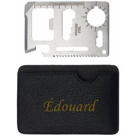 Outil de poche de survie avec un tenant engravé avec le prénom: Édouard (Noms/Prénoms)