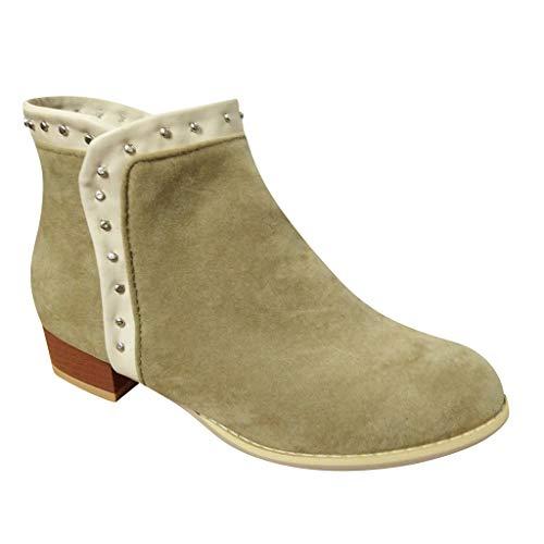 Abvenc Donna Stivaletti Chelsea con Tacco Alto, Stivali Ankle Boots Cuoio Tacco Spesso Testa Rotonda Bassi Blocco Zeppa Casual per Autunno e Inverno (Beige, EU:35)