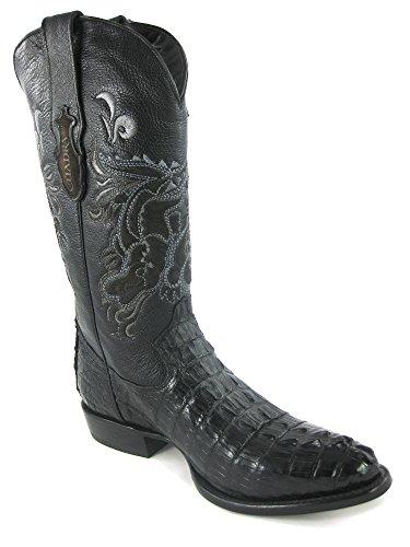 CUADRA Herren Westernstiefel / Lederstiefel hoch aus Kaiman Krokodil (handgefertigt) / Gr. EU 40-45, Farbe: Schwarz, Farbe:Schwarz;Größe:43.5 (Krokodil Cowboy Stiefel)