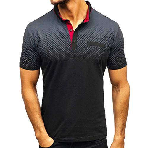 BHYDRY Herren Farbverlauf Streifen Spleißen Muster Lässige Mode Revers Kurzarm Shirt