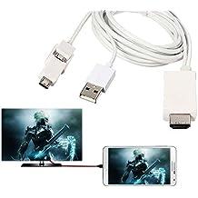 Teléfono de cables de PC Y DVD a TV, acnacy 6,5pies Micro USB a HDMI cable MHL a HDMI 1080p HDTV Cable adaptador Cable para Samsung Galaxy Galaxy s5/s4/s3/note 3GALAXY Tab 38.0, Tab Pro, Galaxy Note 8, y más de MHL teléfonos
