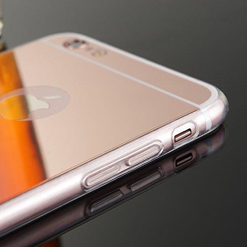 FindaGift iPhone 6 Plus / iPhone 6s Plus Hülle, Ultra Slim Passen Stoßfest TPU Stoßfänger Frame mit Spiegel Bewirken PC Snap-On Back Handycover Case Schutz Shell Anti-Kratzer für iPhone 6 Plus / iPhon Golden