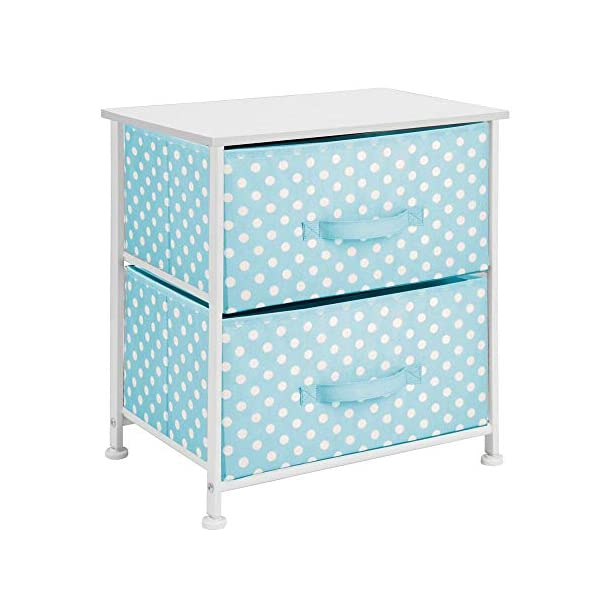 mDesign Chest of Drawers - Children's Bedroom Storage System with 2 Drawers and Flat Top - Nursery Storage Unit with Polka Dot Design - Turquoise/White mDesign SWEET STORAGE: This 2-drawer side table is a must-have accent to complement any child's room. The bright turquoise fabric is adorned with a sweet white polka dot pattern. STORE ANYTHING: The bedroom drawers are a versatile unit and can be filled with anything. Use to store toys, accessories, clothes, books, nappies and more. VERSATILE UNIT: Although the unit works best as bedroom storage, its uses do not stop there. Place in play rooms, nurseries and other child-specific areas of the home. 7