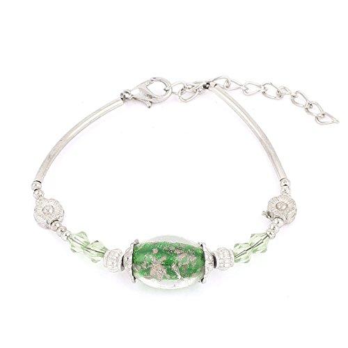 Generic Lady Lobster Hook Oval Bead Decor Wrist Chain Bracelet Green