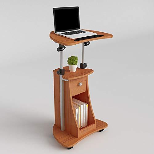 LLA Mobile Desk Einstellbare Höhe Laptop-Tisch Haushalts Hubtisch Folding Computer-Schreibtisch einfache und kleine Werkbank Besprechungstisch Moderne Stehpult,Holz