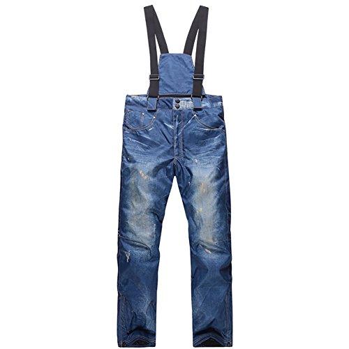 Zongsi pantaloni da sci da uomo casual bretelle jeans da sci impermeabile e traspirante warm skiing pantaloni da snowboard(xl)