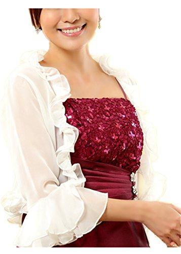 Monissy Femmes Top Femme Mariée Satin Boléro Veste Extensible Floral Manches Longues Douce Blanc