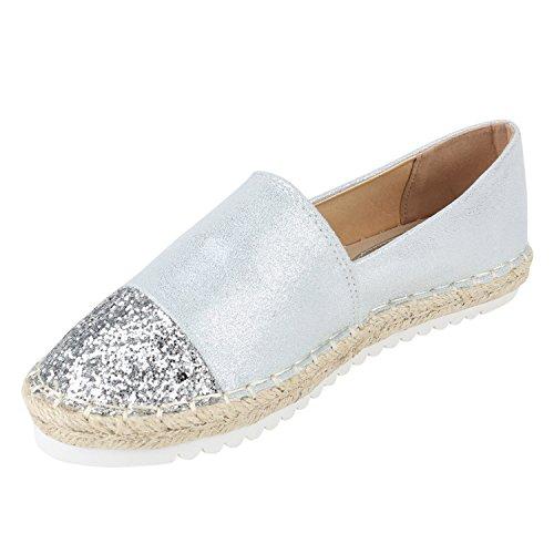 Damen Espadrilles | Bast Slipper | Glitzer Sommerschuhe | Metallic Flats Pailetten | Stoff Schuhe Plateau Silber Metallic Glitzer