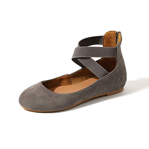 Women's Shoes Brushed Braided Belt Ballet Dolly Flats Grey Size 4.5 UK - Womens Casual Ballet Flat