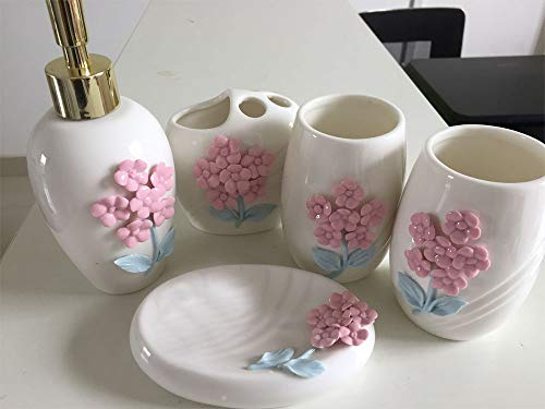 SUOVK Zahnbürstenhalter 3D Keramik Blume Bad-AccessoiresBad Set Lotion Flasche Zahnbürstenhalter Seifenkiste Trays Badezimmer Kit, 5 - Flasche Sterilisator Kit