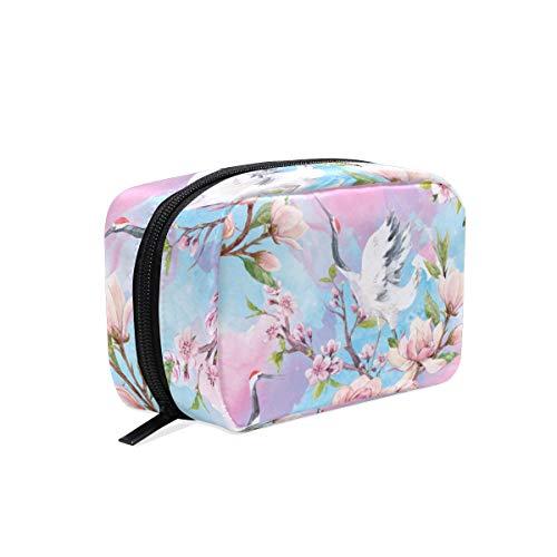 WowPrint Japan Kran Kirsche Blühen Design Kosmetiktasche Kulturbeutel Multifunktional Reise organizer Waschen Tasche Make-up-Tasche Kulturtasche für Mädchen Jungen Damen Herren -