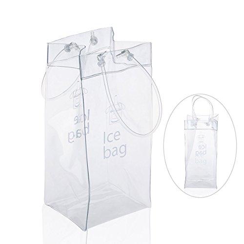 Leorx Sac de glace – en PVC à champagne vin Pochette Sac isotherme avec poignée