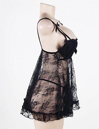 Jnsdmyxp Damen (M-5XL) Schwarze Spitze Lace Übergrößen Dessous Durchsichtiger Erotik Hosenträger Dessous-Set-Große Größen Schwarz