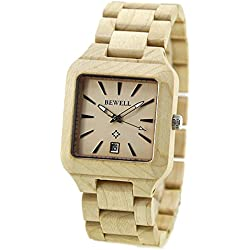 Bewell Men's Natural Maple Wooden Watches Square Watch Face Noble Quartz Wristwatches