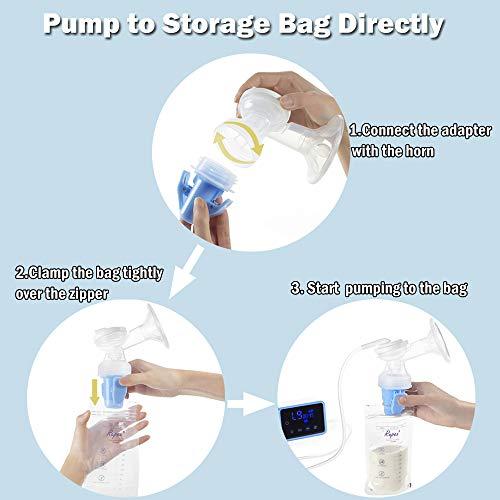Sacaleches Eléctrico, Bellababy Bomba de lactancia/Extractor de Leche Materna con succión dual con pantalla táctil LED (con 10 Bolsas de Almacenami)