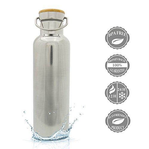 Luxamel Trinkflasche Edelstahl 750ml Isolierflasche, doppelwandige Edelstahl Wasserflasche & Trinkflasche Thermosflasche - 24 Stunden kalt & 12 heiß BPA frei (750ml, chrom)