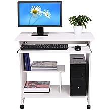 Befied Escritorio de la Computadora con Portateclado Mesa de ordenador de madera con 4 ruedas moderna Escritorio para hogar o oficina ( 80 × 40 × 78.5 cm ) (Blanco)
