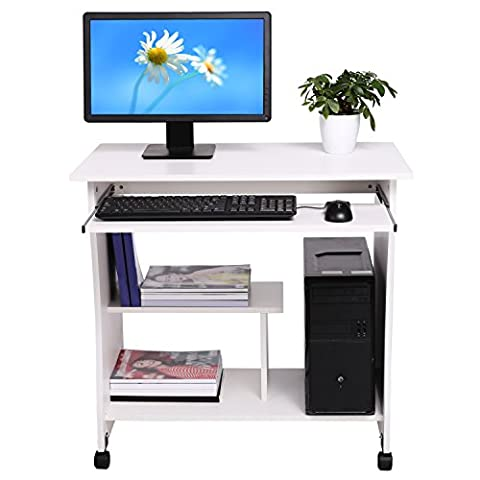 Homdox Neu Beweglicher Computertisch hölzerner PC Schreibtisch mit Keyboardständer und Rolle für Hause und Bürosarbeit