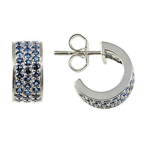 Orecchini a cerchio da donna in argento 925 rodiato con zirconi Signity Blue M0473E/90/D8