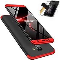 Panzerglas Schutzfolie für Samsung Galaxy J4+/J4 Plus (2018), MISSDU 3in1 Hybrid Schutzhülle Hart PC Stoßfest Tasche Plastik Anti-stoß Schutzhülle Tasche Case Cover - Schwarz+Rot