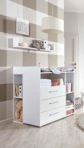 Preisvergleich Produktbild Wickelkommode Babyzimmer KIM in Weiß mit 2 Unterbauregalen und Wandregal