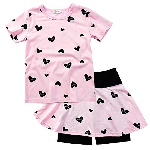 Mädchen Hose Top (EULLA Mädchen Kleidung Set Baumwolle T-Shirt Top + Rock Hose Outfits mit Herzformig, Rosa, 122 (Herstellergröße: 140))